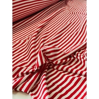 Jersey lin/coton rayures rouge 20 x 160 cm