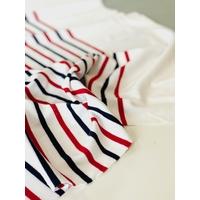 Lot de 2 panneaux de jersey 17 cm uni blanc / 66 cm rayé marine blanc rouge x 135 cm soit 1m66 x 135 cm