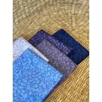 Lot de 5 coupons d'environ 50 x 55 cm - Liberty Wiltshire Shadow -  bleu/violet