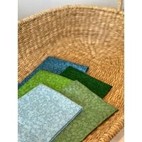 Lot de 5 coupons d'environ 50 x 55 cm - Liberty Wiltshire Shadow - vert/bleu