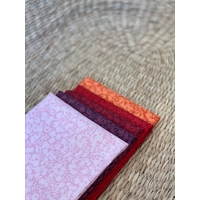 Lot de 5 coupons d'environ 50 x 55 cm - Liberty Wiltshire Shadow - rose/rouge/orange