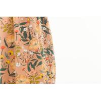 """Sweat léger """"French Terry"""" imprimé Summer Flowers coloris Camel brown 20 x 150 cm"""