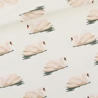 """Sweat léger """"French Terry"""" imprimé Swan coloris Cloud white 20 x 150 cm"""