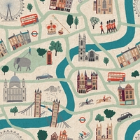 Tissu lin/coton London Map 20 x 110 cm