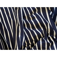 Jersey marine rayé blanc cassé 20 x 135 cm