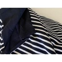 Jersey double rayé noir et blanc / envers noir 20 x 155 cm