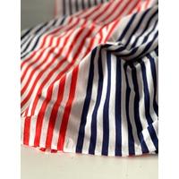 Jersey léger 17 cm rayé clémentine / 17 cm rayé marine / 1 cm blanc x6 => 2m10 x 170 cm