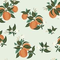 Tissu Rifle Paper Primavera oranges fond menthe clair, détails dorés 20 x 110 cm