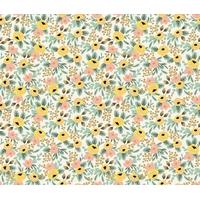 Tissu Rifle Paper Primavera petites fleurs jaunes fond clair 20 x 110 cm