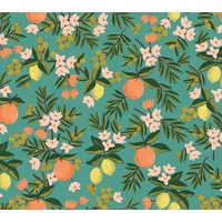 Tissu Rifle Paper Primavera oranges et citrons fond pétrole 20 x 110 cm