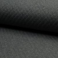 Jersey matelassé 100% coton coloris gris chiné foncé  20 x 145 cm