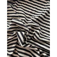 Jersey lin/coton rayures noir 20 x 170 cm