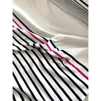 Panneau jersey 24 cm uni blanc / 63 cm rayé rose marine / 25 cm uni blanc x 155 cm de large soit 1m12 x 155 cm