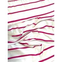 Jersey rayures espacées rose fond blanc 20 x 150 cm