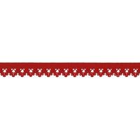 Biais élastique dentelle 13mm coloris Rouge x10cm