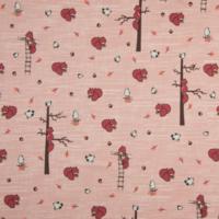 Jersey écureuils fond rose 20 x 140 cm