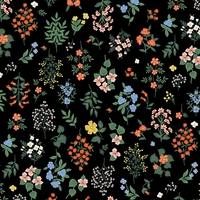 Tissu Rifle Paper Strawberry Fields Hawthorne Black 20 x 110 cm