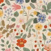Tissu Rifle Paper lin/coton Strawberry Fileds Naturel 20 x 110 cm