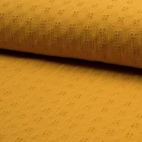 Double gaze brodée Trèfle coloris moutarde 20 x 125 cm