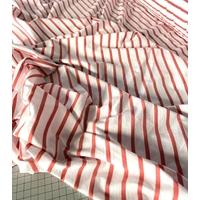 COUPON de Jersey rayé fin blush et blanc 1m60 x 165 cm