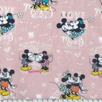 Popeline Mickey fond rose 20 x 140 cm