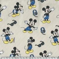 Popeline Mickey fond taupe 20 x 140 cm