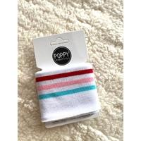 Bord-côte Poppy Cuffs blanc / bleu / rose / rouge