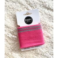 Bord-côte Poppy Cuffs fuchsia et argent