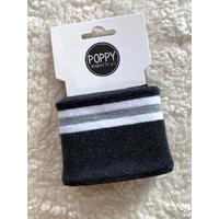 Bord-côte Poppy Cuffs gris chiné foncé / blanc / gris
