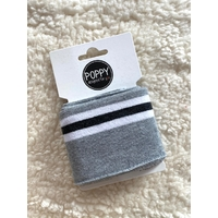 Bord-côte Poppy Cuffs gris chiné clair / blanc / noir