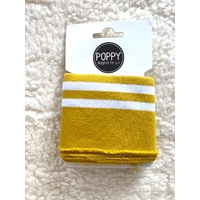 Bord-côte Poppy Cuffs moutarde et blanc