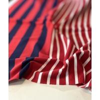 COUPON de jersey 23 cm grosses rayures brique et marine / 30 cm blanc / 63 cm grosses rayures brique et marine / 30 cm blanc / 40 cm grosses rayures brique et marine x 125 cm soit 1m86 x 125 cm