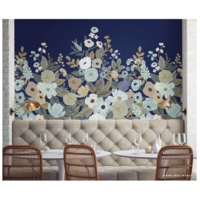Panoramique intissé (papier peint) Garden Party Navy H 340 cm - L 168,9 cm