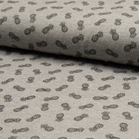 Piqué de coton coloris gris imprimé ananas 20 x 155 cm