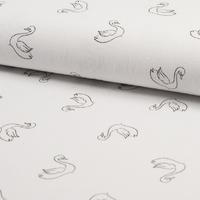 Tissu cygnes fond blanc 20 x 130 cm