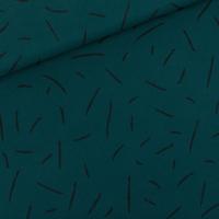 """Sweat léger """"French Terry"""" imprimé Strikes coloris ponderosa green 20 x 150 cm"""