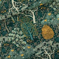 Toile de coton gabardine épaisse imprimé Oriental Garden coloris green gables 20 x 150 cm