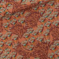 Toile de coton gabardine épaisse imprimé Gilly Flowers coloris sunburn brown 20 x 150 cm