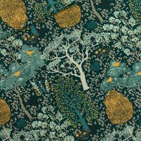 Viscose Oriental Garden coloris green gables 20 x 140 cm