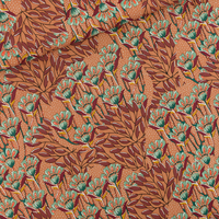 Viscose Gilly Flowers coloris sunburn brown 20 x 140 cm