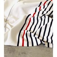 Lot de 2 panneaux de jersey épais 14 cm blanc / 43 cm rayé marine rouge / 24 cm blanc / 14 cm blanc / 43 cm rayé marine rouge / 24 cm blanc x 130 cm soit 1m62 x 130 cm