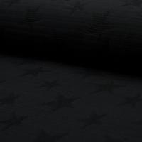 Jacquard étoiles relief coloris noir 20 x 145 cm