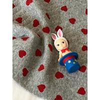 Jersey matelassé 100% coton coloris gris moyen chiné coeur-coeur 20 x 165 cm