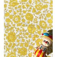 Popeline Liberty D'Anjo Sky coloris B jaune 20 x 145 cm
