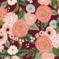 Tissu lin/coton Rifle Paper Garden Party Juliet Rose Burgundy 20 x 110 cm