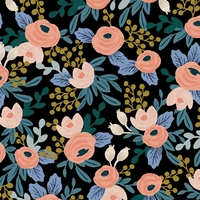 Tissu lin/coton Rifle Paper Garden Party Rosa Black 20 x 110 cm