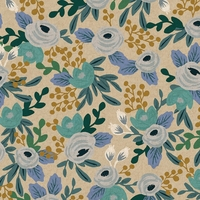 Tissu lin/coton Rifle Paper Garden Party Rosa Blue 20 x 110 cm