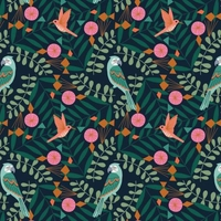 Tissu Our Planet Free as a bird fond foncé 20 x 110 cm