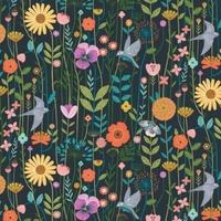 Tissu Aviary oiseaux et fleurs fond foncé 20 x 110 cm