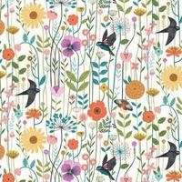 Tissu Aviary oiseaux et fleurs fond clair 20 x 110 cm